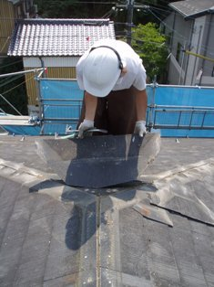 屋根材メクリ作業